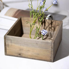 2 Pack | 9'' Natural Square Wood Planter Box Set With Removable Plastic Liners