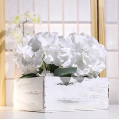 "2 Pack | 9"" Whitewash Square Wood Planter Box Set With Removable Plastic Liners"