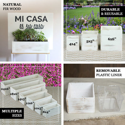 "4 Pack | 8""x4'' Whitewash Rectangular Wood Planter Box Set With Removable Plastic Liners"
