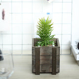 2 Pack | 5'' Square | Smoked Brown Rustic Natural Wood Planter Box Set With Removable Plastic Liners