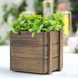 2 Pack | 6'' Square | Smoked Brown Rustic Natural Wood Planter Box Set With Removable Plastic Liners