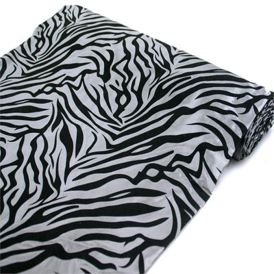"54""x10 Yards Black/Silver Flocked Taffeta Zebra Animal Print Fabric Bolt"