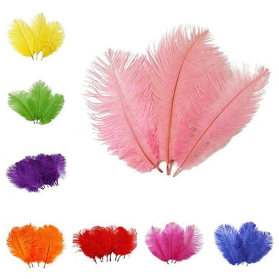 "12 Pack | 13""-15"" Orange Natural Plume Ostrich Feathers Centerpiece"