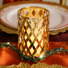 "2 Pack | 4"" Metal Gold Candle Holder Set 