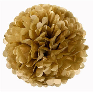 "12 Pack 16"" Gold Paper Tissue Fluffy Pom Pom Flower Balls"