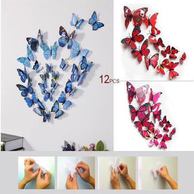 12 Pack 3D Butterfly Wall Decals Stickers DIY– Green Collection