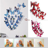 12 Pack 3D Butterfly Wall Decals Stickers DIY– Red Collection