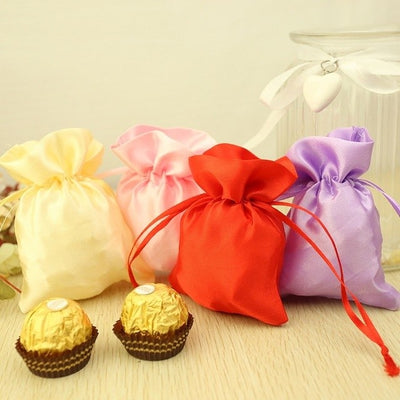 "12 Pack | 4""x6"" Peach Satin Drawstring Candy Bags"