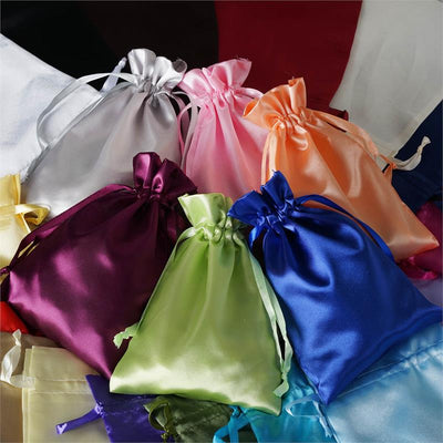 "12 Pack | 6""x9"" Black Satin Favor Bags Party Drawstring Pouches"