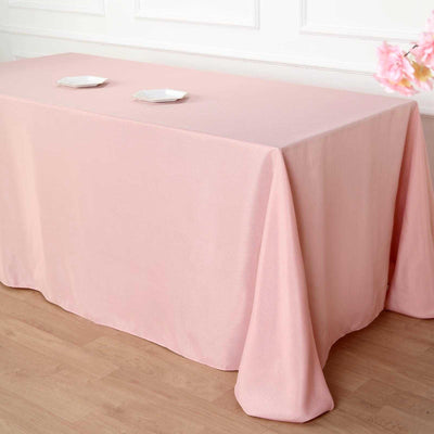 "90x156"" Dusty Rose Polyester Rectangular Tablecloth"
