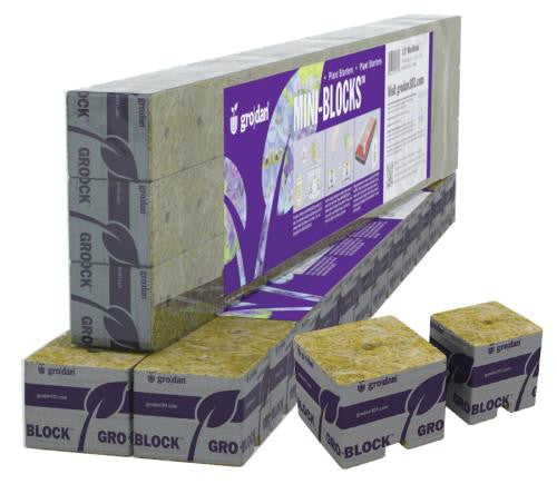 Grodan 1.5 in Starter Mini-Blocks MM40/40 1.5 in x 1.5 in x 1.5 in (3 Strips of 15 or 45 ct)