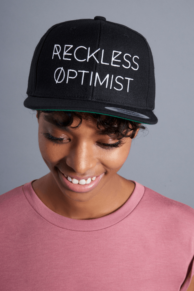 Reckless Optimist Fitted Hat - Vibrate Higher; black