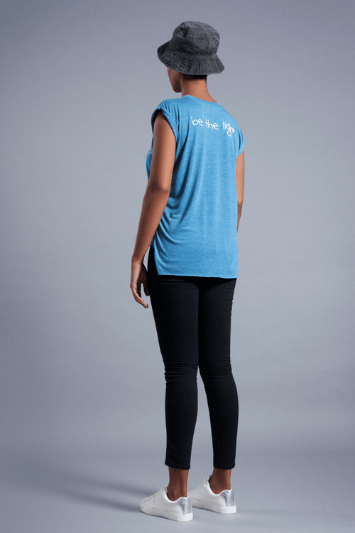 Be The Light Muscle T-Shirt - Vibrate Higher; teal
