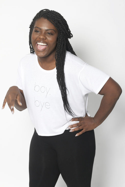 Boy Bye Boxy Tee - Vibrate Higher; white