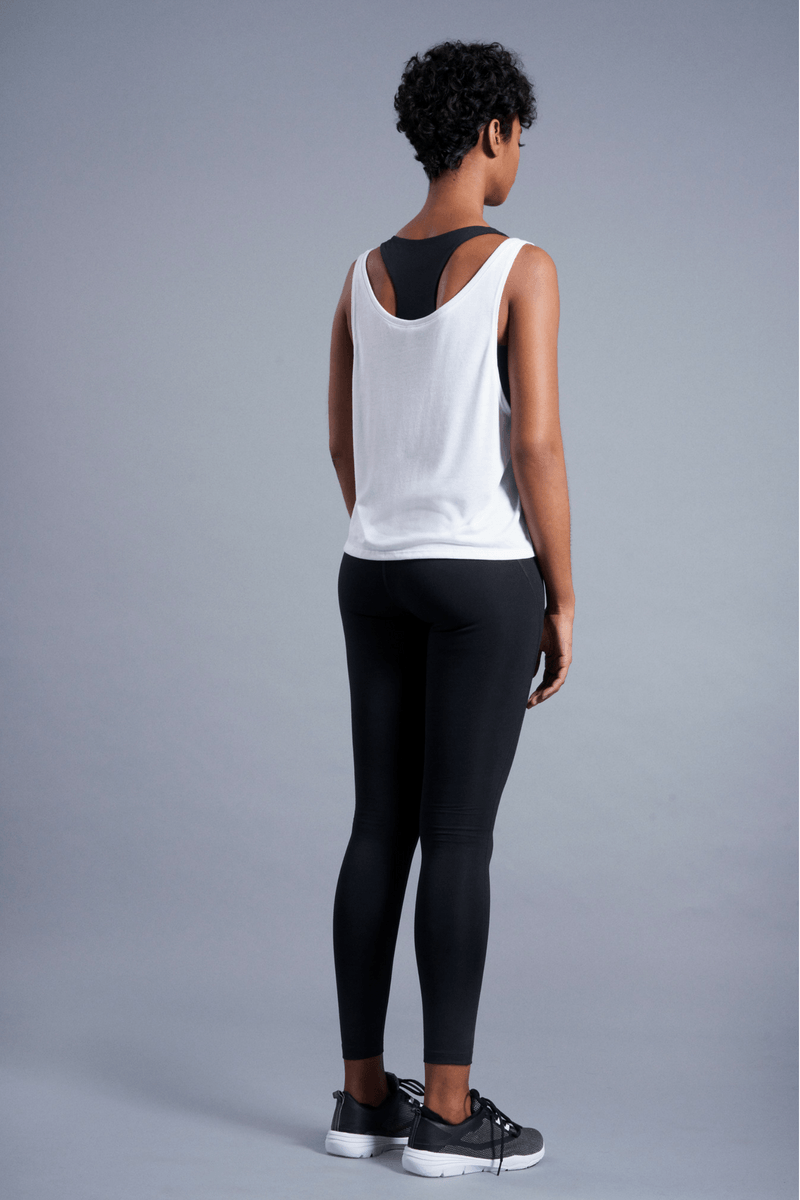 Mentally at Yoga Flowy Tank - Vibrate Higher; white