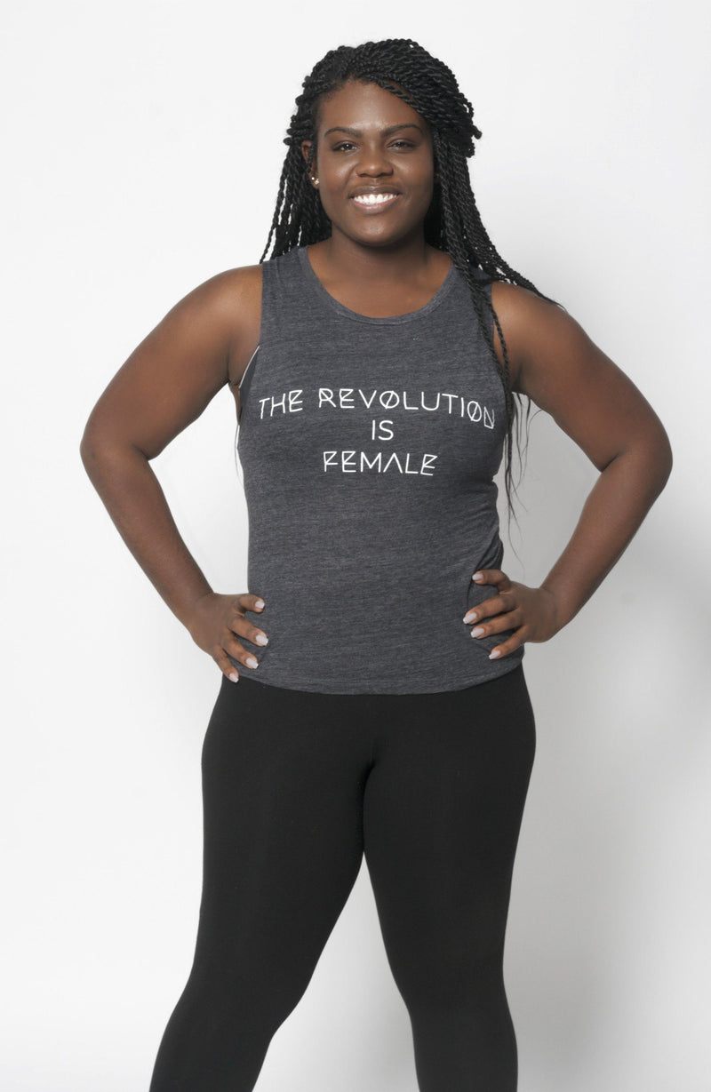 The Revolution is Female Muscle Tank - Vibrate Higher; charcoal black
