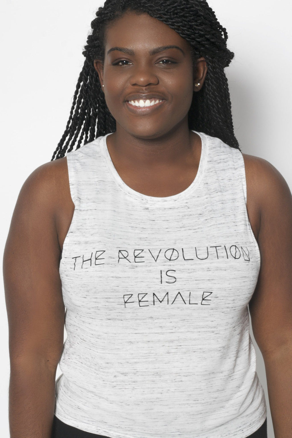 The Revolution is Female Muscle Tank - Vibrate Higher; marble white
