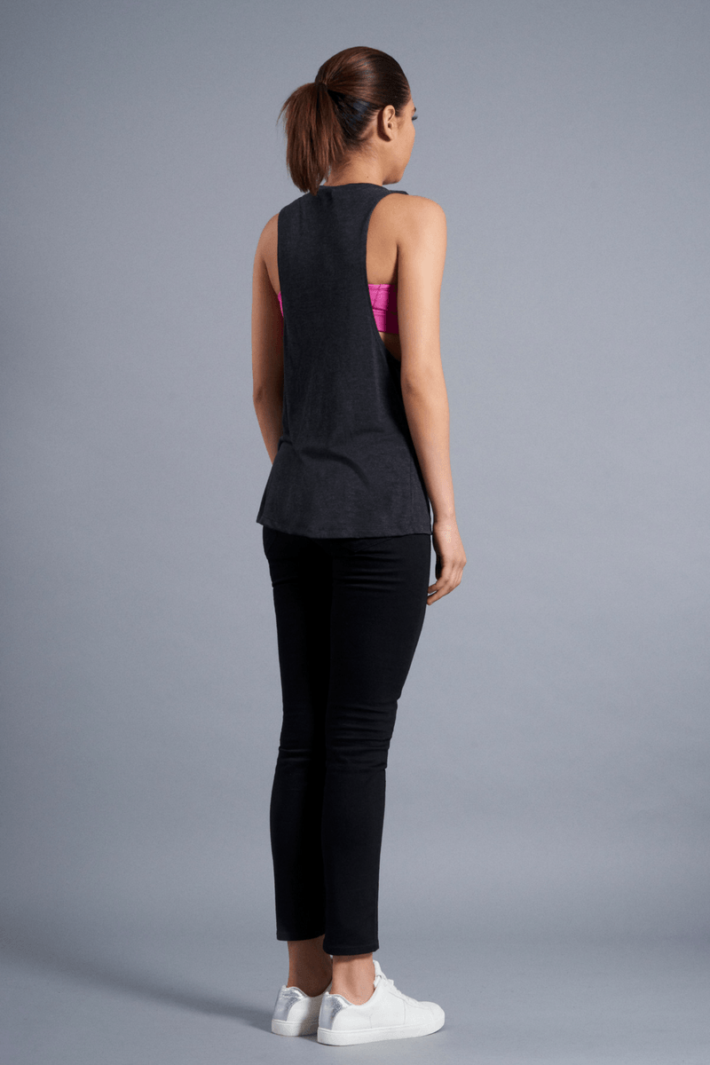 Perspective Muscle Tank - Vibrate Higher; charcoal black