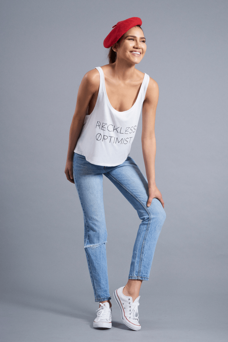 Reckless Optimist Flowy Tank - Vibrate Higher; white