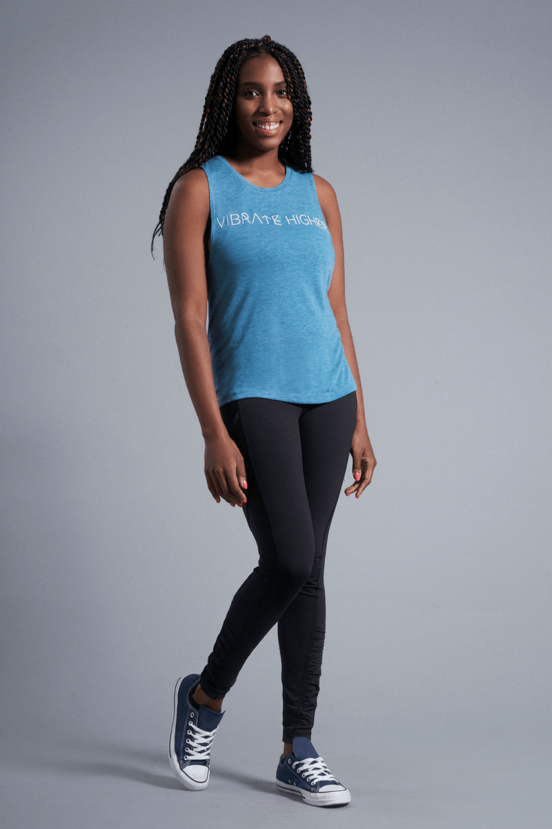 Vibrate Higher Muscle Tank - Vibrate Higher; teal