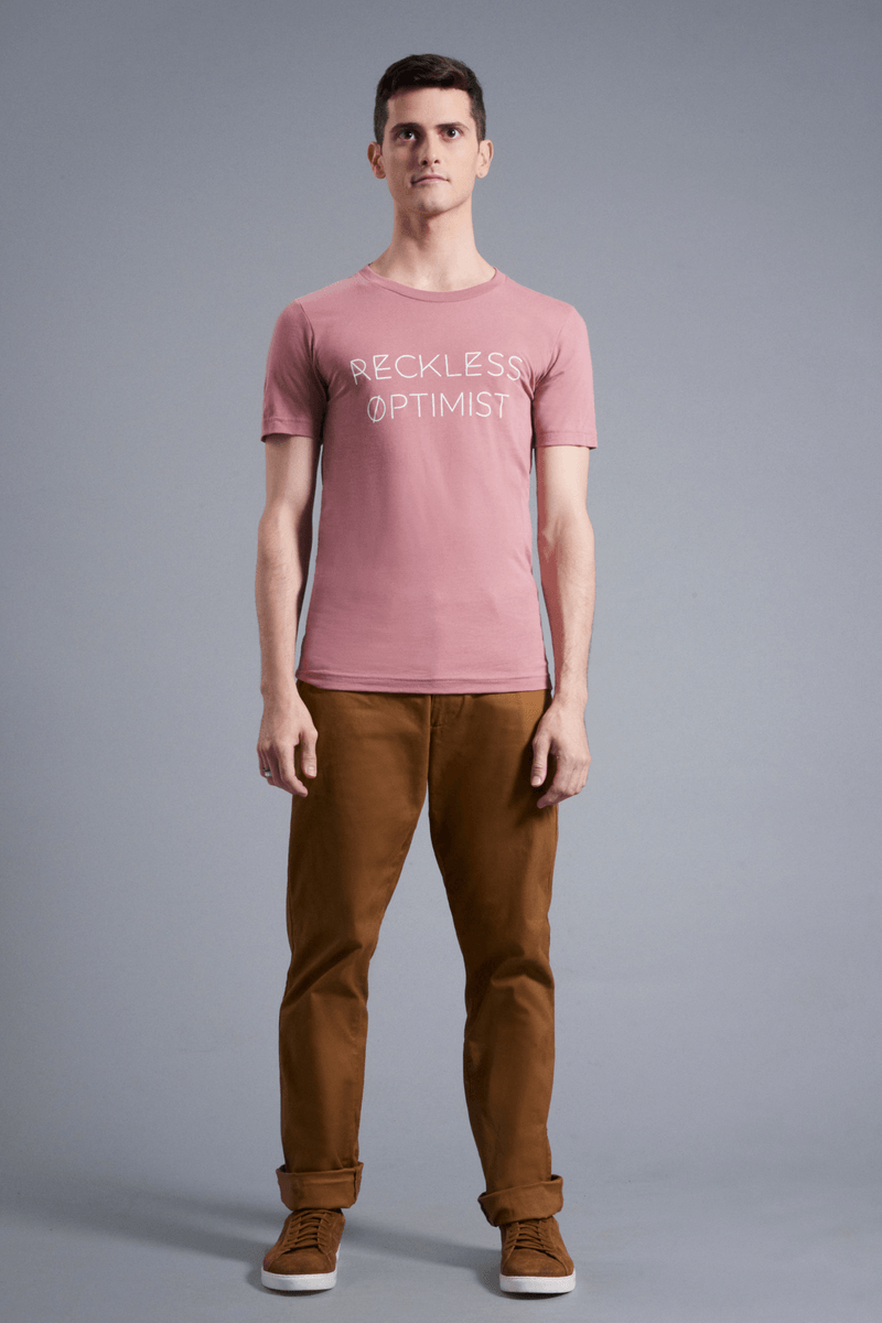 Reckless Optimist T-Shirt - Vibrate Higher; Mauve
