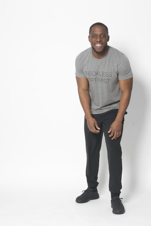 Reckless Optimist T-Shirt - Vibrate Higher; gray
