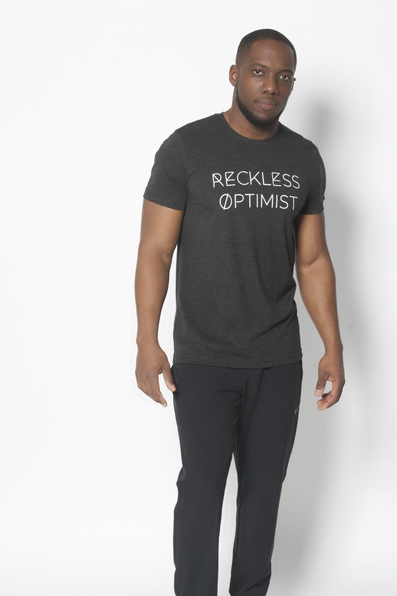 Reckless Optimist T-Shirt - Vibrate Higher; charcoal black