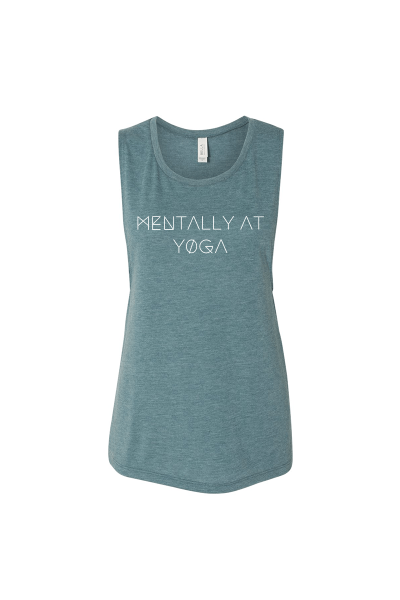 Mentally at Yoga Muscle Tank - Vibrate Higher; teal