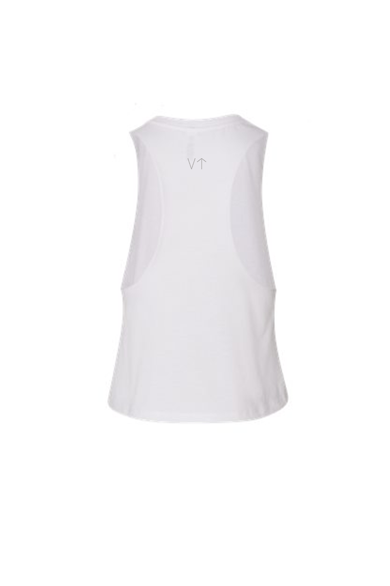 Vibrate Higher Racerback Tank - Vibrate Higher; white
