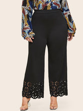 Plus Wide Leg Laser Cut Hem Pants