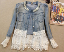 Vintage  Lace and Pearl-Jean Jacket