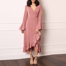 Claire-Long Flute Sleeve Wrap dress