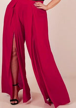 Lilly-Red Side Slit Pants