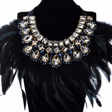 Luxury Crystal & Feather Bib Statement Necklace
