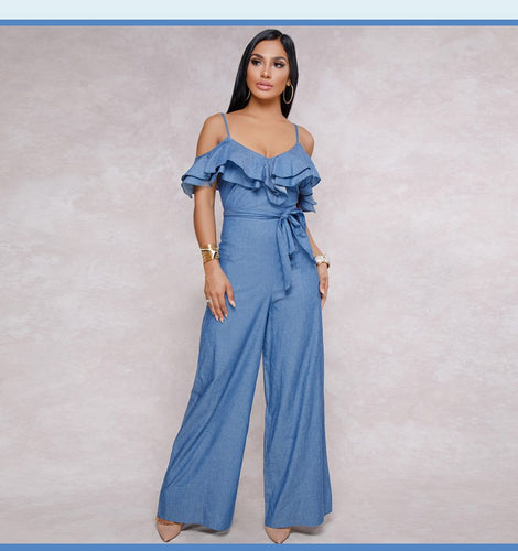 Ruffle Shoulder Denim Jumpsuit