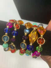 Women's crystal and gold stackable bracelets