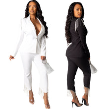 Giesele 2 piece White Tassle Suit