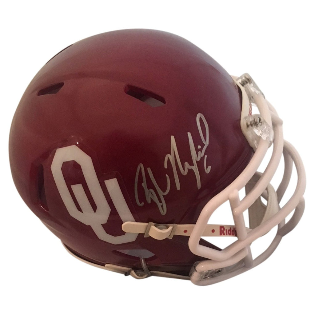 Baker Mayfield Autographed Oklahoma Mini Helmet - Powers Sports Memorabilia