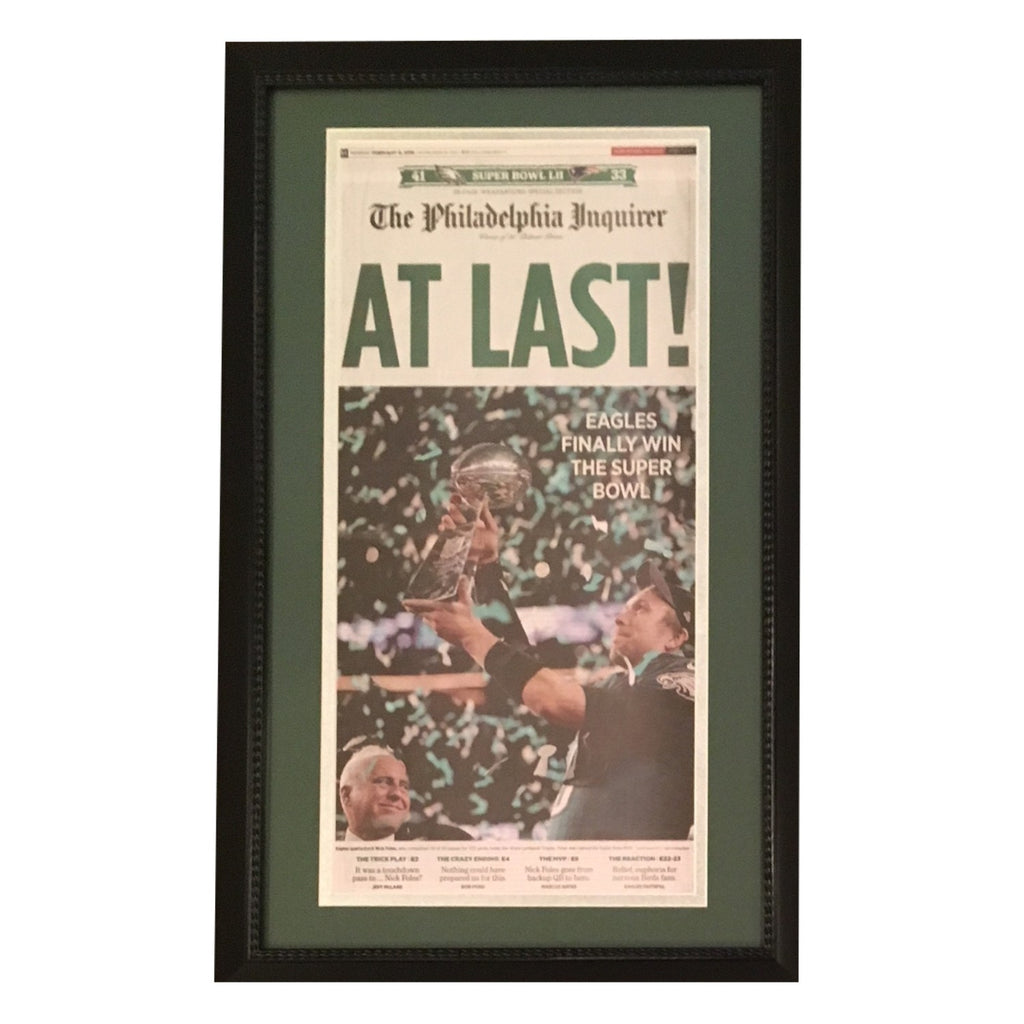 Philadelphia Eagles Inquirer Super Bowl Framed Newspaper