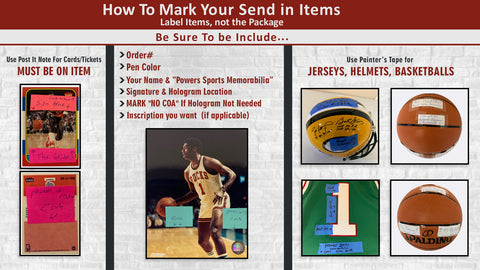 how to send in your item for an autograph signing