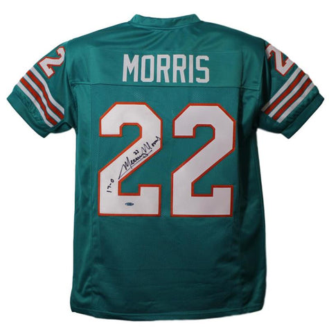 Mercury Morris Autographed Miami Dolphins Teal XL Jersey 17-0 Tristar PSM-Powers Sports Memorabilia
