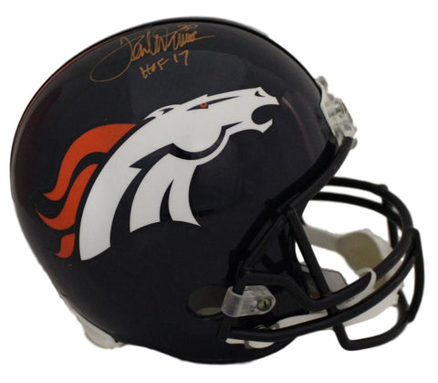 Terrell Davis Autographed Denver Broncos Proline Helmet HOF 17 in Orange JSA PSM-Powers Sports Memorabilia