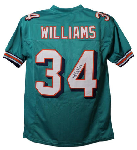 Ricky Williams Autographed Miami Dolphins XL Teal Jersey JSA PSM-Powers Sports Memorabilia