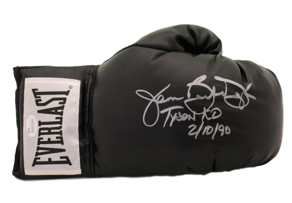 Buster Douglas Autographed Black Everlast Right Handed Boxing Glove Tyson KO JSA PSM-Powers Sports Memorabilia