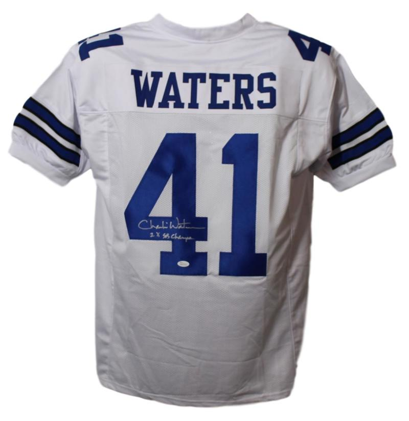 Charlie Waters Autographed Dallas Cowboys White XL Jersey SB Champ JSA PSM-Powers Sports Memorabilia