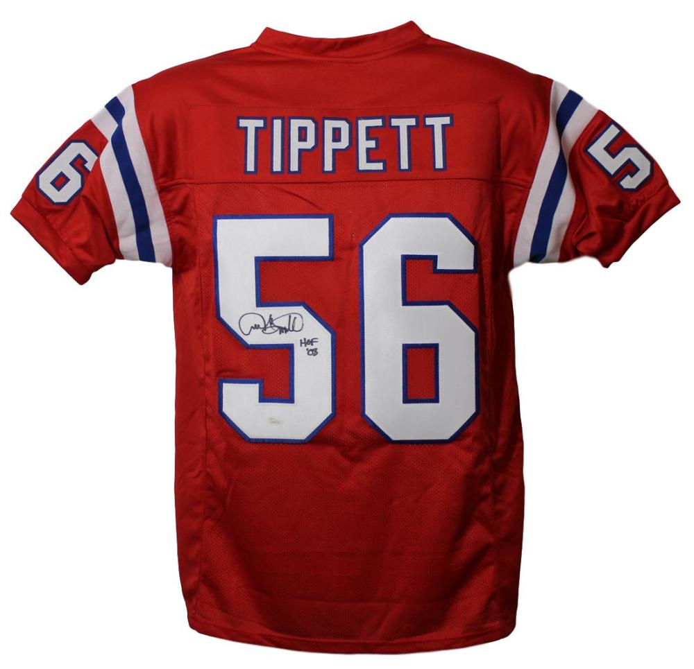 Andre Tippett Autographed New England Patriots Red XL Jersey HOF JSA PSM-Powers Sports Memorabilia