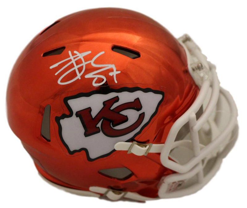 Travis Kelce Autographed Kansas City Chiefs Chrome Mini Helmet BAS PSM-Powers Sports Memorabilia