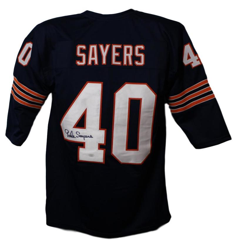 Gale Sayers Autographed Chicago Bears Blue XL Jersey JSA PSM-Powers Sports Memorabilia