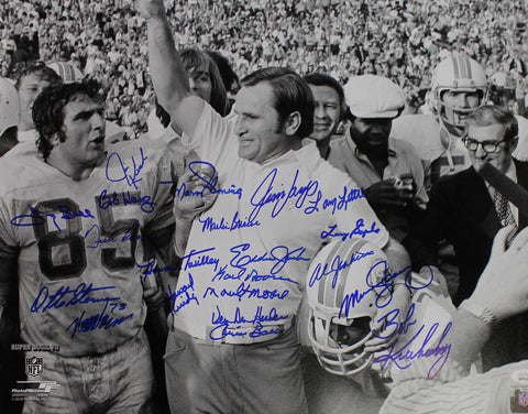 1972 Miami Dolphins Autographed 16x20 Photo 21 Signatures Scott Csonka JSA PSM-Powers Sports Memorabilia