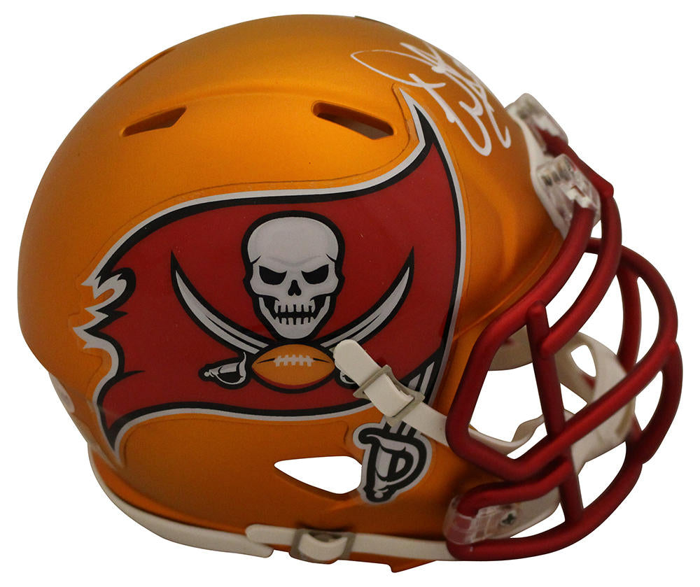 Warren Sapp Autographed Tampa Bay Buccaneers Blaze Mini Helmet BAS PSM-Powers Sports Memorabilia